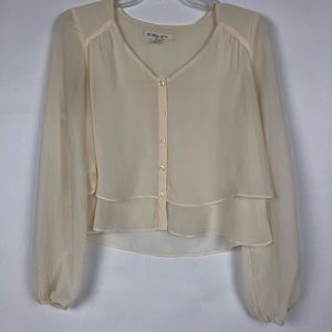 bcbg generation crop top ivory long sleeves xxs